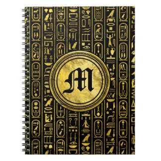 Monogram Egyptian Ancient Gold hieroglyphs Notebook