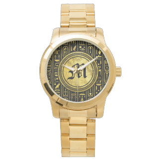 Monogram Egyptian Ancient Gold hieroglyphs Watch
