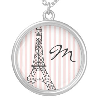 Monogram Eiffel Tower Silver Plated Necklace