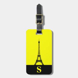 Monogram Eiffel Tower with Stripe on Yellow Luggage Tag