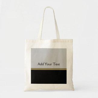 Monogram Elegance in Black Grey Gold Budget Tote Bag