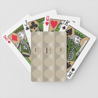 Monogram Elegant Beige Circles Playing Cards