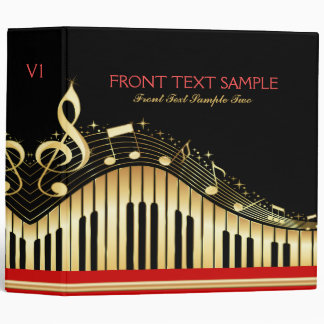 Monogram Elegant Black And Gold Music Notes Design Vinyl Binders