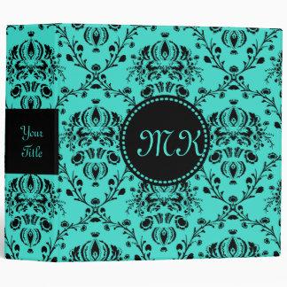 Monogram Elegant Black Damask Turquoise Feminine Binder