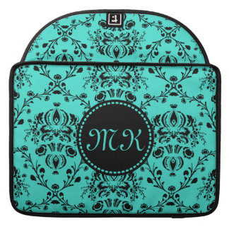 Monogram Elegant Black Damask Turquoise Feminine Sleeve For MacBooks