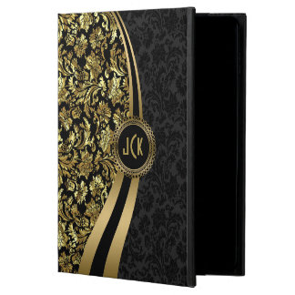 Monogram Elegant Black & Gold Floral Damasks Powis iPad Air 2 Case