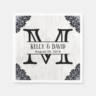 Monogram Elegant Black Laced Rustic Barn Wedding Paper Napkins