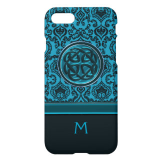 Monogram Elegant Blue Damask and Celtic Knot iPhone 8/7 Case