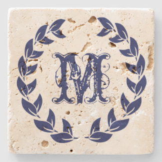 Monogram Elegant Blue Wreath Stone Coaster