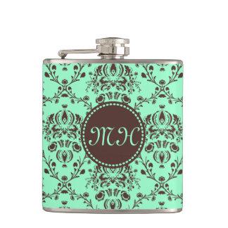 Monogram Elegant Chocolate Brown Damask Mint Green Flasks