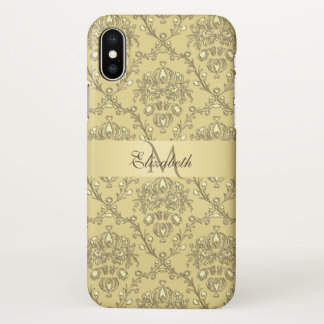 Monogram Elegant Gold Damask iPhone X Case