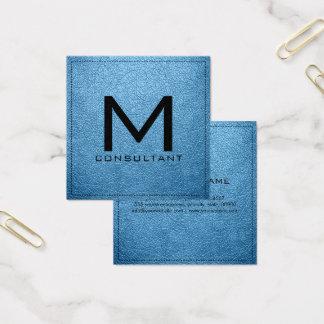 Monogram Elegant Modern Aero Leather Square Business Card