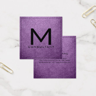 Monogram Elegant Modern African Violet Leather Square Business Card