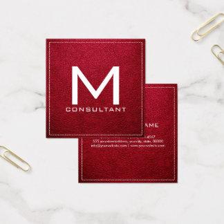 Monogram Elegant Modern Alabama Crimson Leather Square Business Card