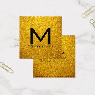 Monogram Elegant Modern Amber Leather Square Business Card