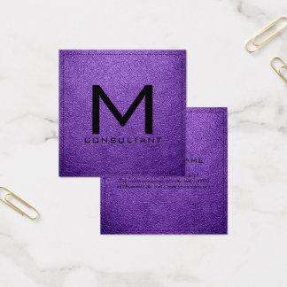 Monogram Elegant Modern Amethyst Leather Square Business Card