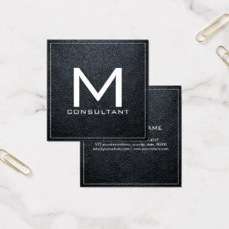 Monogram Elegant Modern Arsenic Leather Square Business Card