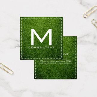 Monogram Elegant Modern Avocado Leather Square Business Card