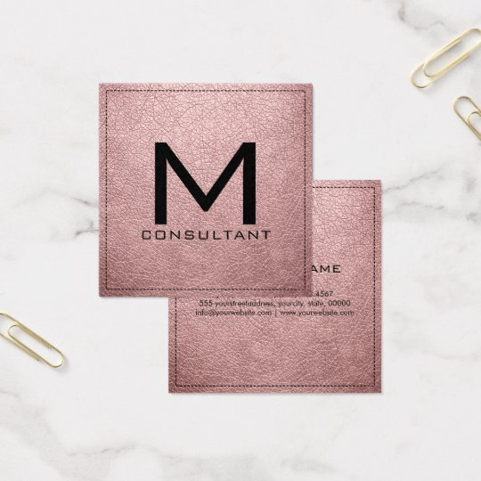 Monogram Elegant Modern Baby Pink Leather Square Business Card
