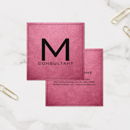 Monogram Elegant Modern Baker-Miller Pink Leather Square Business Card
