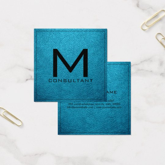 Monogram Elegant Modern Ball Blue Leather Square Business Card