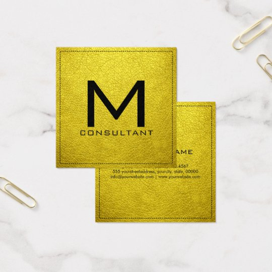 Monogram Elegant Modern Banana Yellow Leather Square Business Card