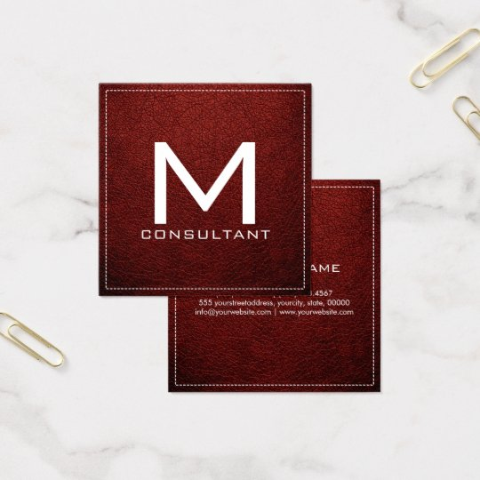 Monogram Elegant Modern Barn Red Leather Square Business Card