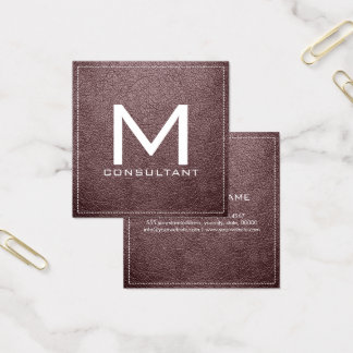 Monogram Elegant Modern Bazaar Leather Square Business Card