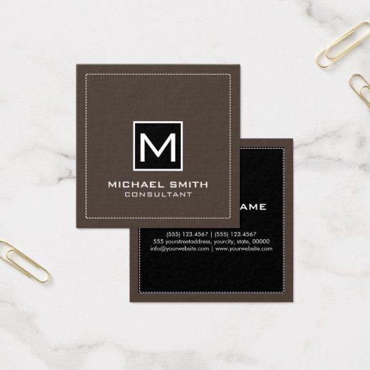 Monogram Elegant Modern Black Lava Square Business Card