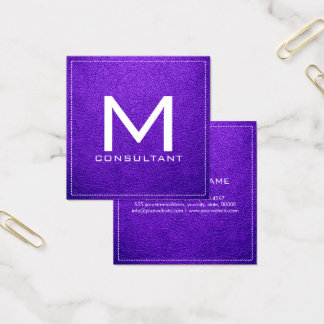 Monogram Elegant Modern Blue-violet Leather Square Business Card