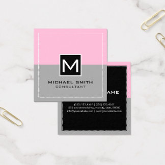 Monogram Elegant Modern Gray Cotton Candy Square Business Card