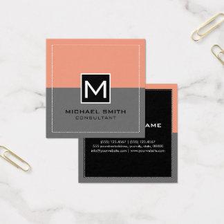 Monogram Elegant Modern Gray Salmon Square Business Card