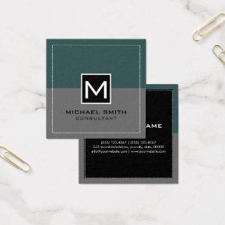 Monogram Elegant Modern Gray Slate Square Business Card