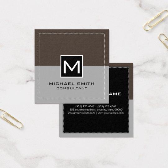 Monogram Elegant Modern Grey Lava Square Business Card