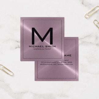Monogram Elegant Modern Lavender Stainless Metal Square Business Card