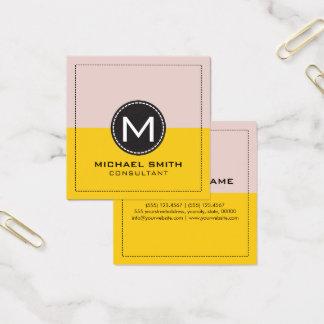 Monogram Elegant Modern Lemon and Dust Storm Square Business Card