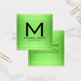 Monogram Elegant Modern Lime Metal Square Business Card