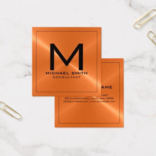 Monogram Elegant Modern Orange Stainless Metal Square Business Card