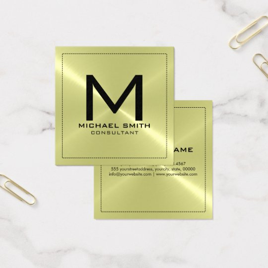 Monogram Elegant Modern Stainless Metal Square Business Card