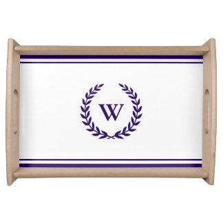 Monogram Elegant Navy Blue And White Serving Tray