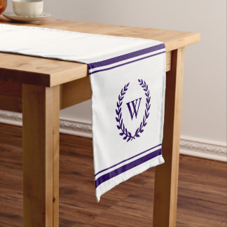 Monogram Elegant Navy Blue White Table Runner