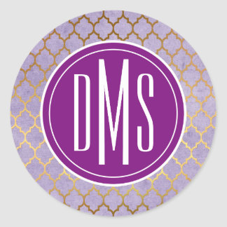 Monogram | Elegant Purple & Gold Trefoil Classic Round Sticker