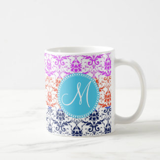 Monogram Elegant Rainbow Colorful Damask Fading Co Coffee Mug