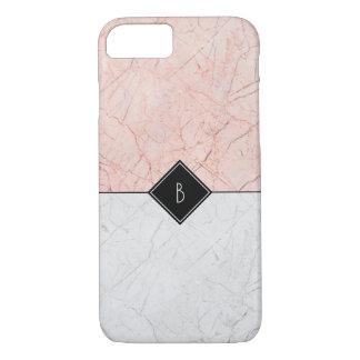 Monogram Elegant Rose Gold Gray Marble 8/7 Case