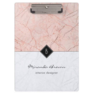 Monogram Elegant Rose Gold Gray Marble Clipboard