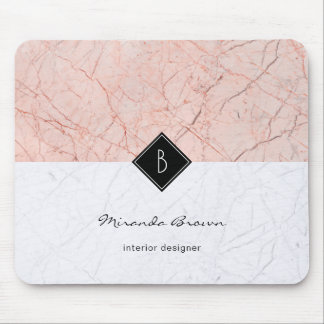 Monogram Elegant Rose Gold Gray Marble Mousepad