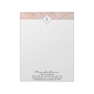 Monogram Elegant Rose Gold Marble Notepad