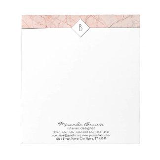 Monogram Elegant Rose Gold Marble Small Notepad