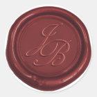 Monogram Elegant Script Red Wax Seal Wedding
