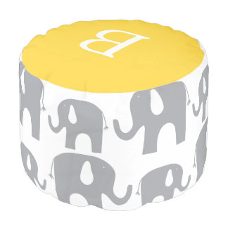 Monogram Elephant Gray Yellow Pattern Pouf